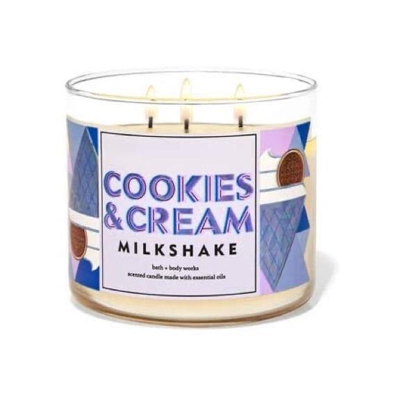 Cookies & Cream Milkshake Bath & Body Works 3-Wick Candle Never Burned Before